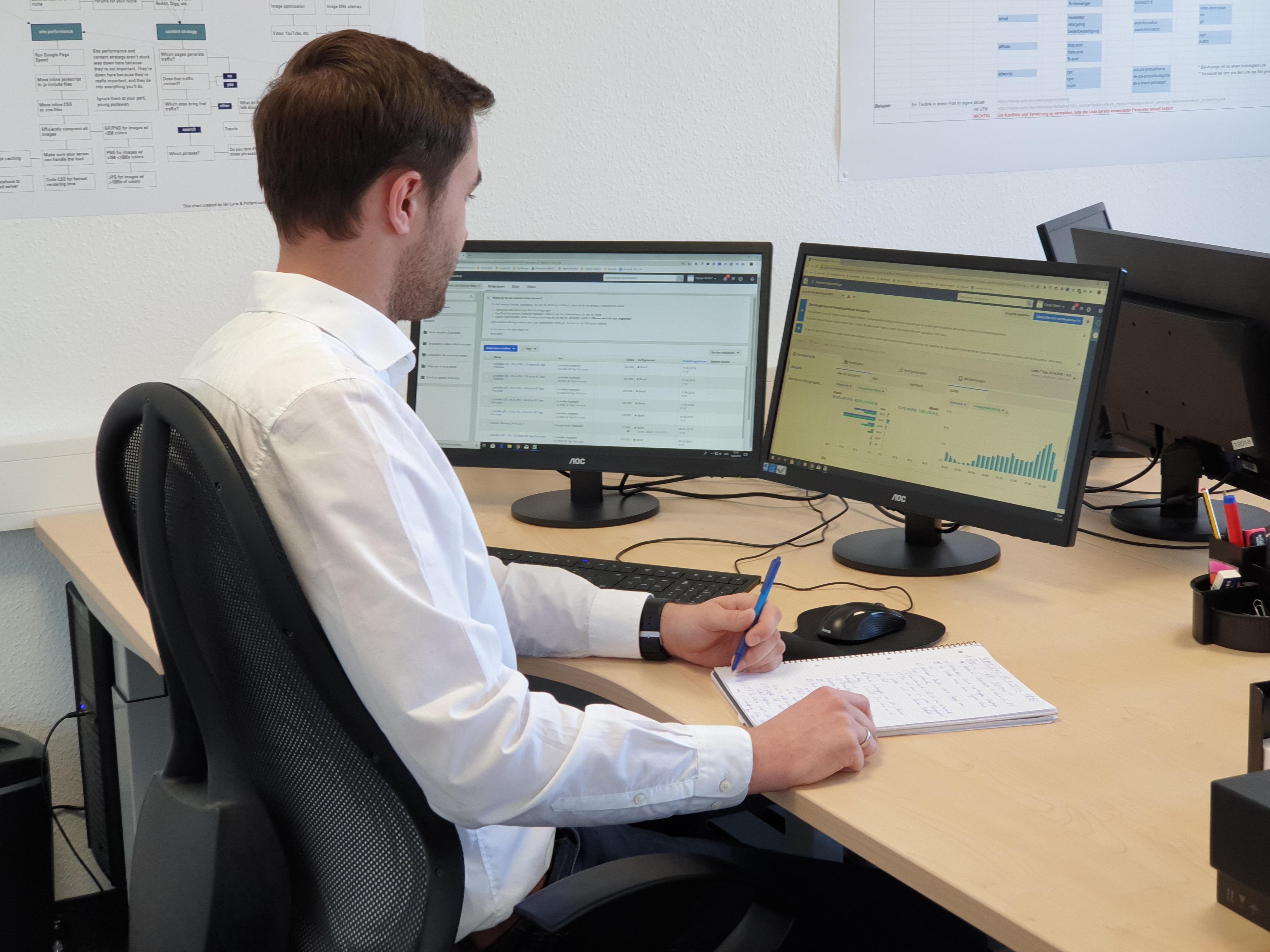 Online-Profession Mitarbeiter analysiert Google & Facebook Ads