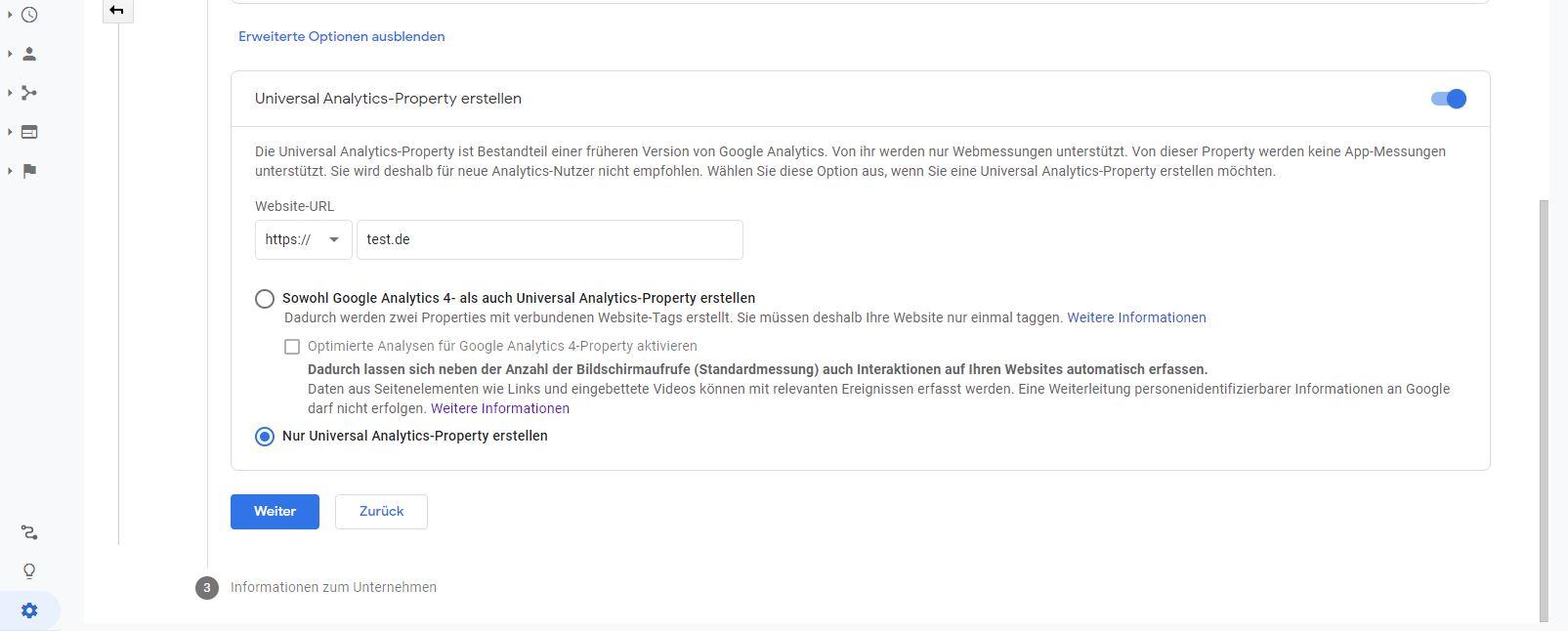 erweiterte Optionen als Weg zu Universal Analytics