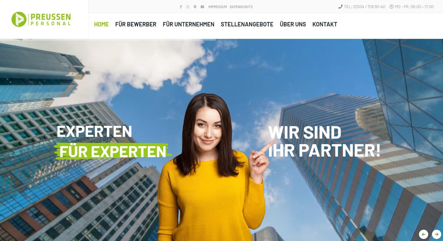 Neue Webseite von Preussen Personal